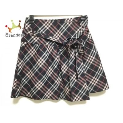 バーバリーブルーレーベル 巻きスカート サイズ36 S レディース 美品 - 黒×ピンク×マルチ 新着 20200909
