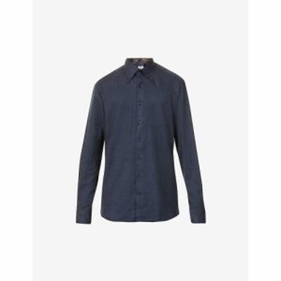 ステンストローム STENSTROMS メンズ シャツ トップス Long-sleeved slim-fit cotton shirt BLUE