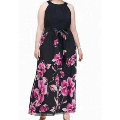 ファッション ドレス SLNY NEW Navy Blue Pink Womens Size 18W Plus Floral Belted Gown Dress