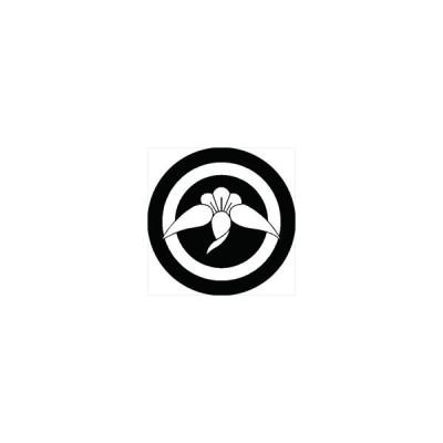家紋シール 丸に丁子鶴紋 直径4cm 丸型 白紋 4枚セット KS44M-0690W