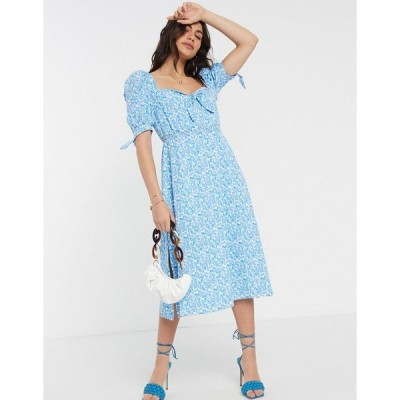 ファッションモンキー レディース ワンピース トップス Fashion Union milkmaid midi dress in floral print Floral print