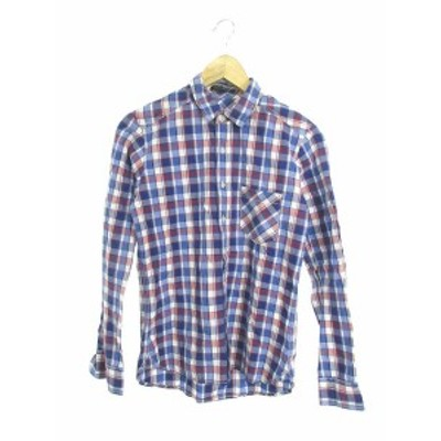 【中古】バンヤードストーム BARNYARDSTORM シャツ 長袖 ボタンアップ チェック 1 青 ブルー 赤 レッド /M2O39 レディース