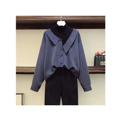 長袖シャツ 切り替え バイカラー フェイク 体型カバー 着痩せ  大きいサイズ