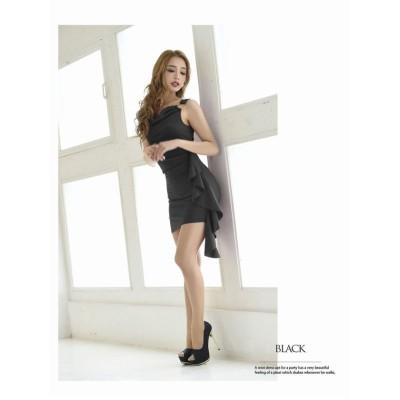 【リューユ】 アシンメトリー フリル キャバドレス ミニ ワンカラー レディース ブラック M Rew-You