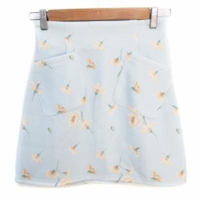 【中古】ダズリン dazzlin スカート 台形 ミニ丈 花柄 マルチカラー S 水色 黄色 ライトブルー /FF35 レディース