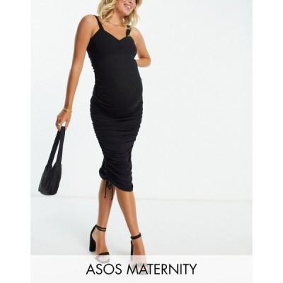 エイソス ASOS DESIGN レディース ボディコンドレス マタニティウェア タイト ミドル丈 Maternity ruched sweetheart bodycon midi dress in black ブラック