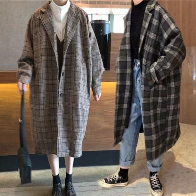 チェスターコート レディース コート ロングコート 秋冬 アウター ゆったり 厚手 アウター 体型カバー チェック柄 暖かい おしゃれ  女性用