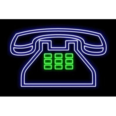【ネオン】黒電話【2】【電話】【でんわ】【イラスト】【アイコン】【テレフォン】【ネオンライト】【電飾】【LED】【ライト】【サイン】