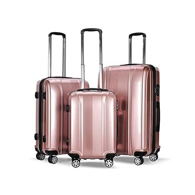 """20"""" 24"""" 28"""" Luggage Travel Set ABS+PC Trolley Suitcase Spinner Pink Set of"""