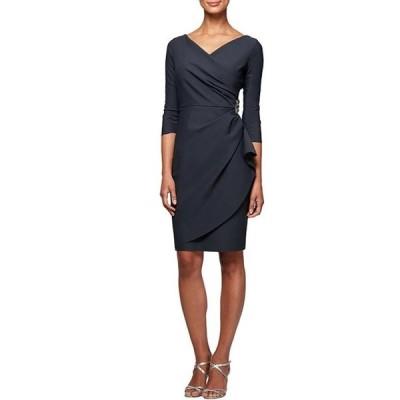 アレックスイブニングス レディース ワンピース トップス Petite Size Ruffle Scuba 3/4 Sleeve Sheath Dress