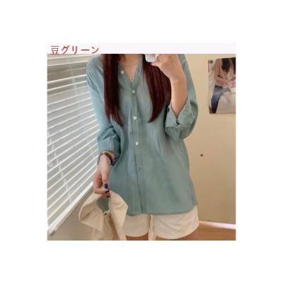 【送料無料】夏 韓国風 薄いスタイル 何でも似合う ルース 長袖シャツ 女 デザイン   346770_A63414-9942770