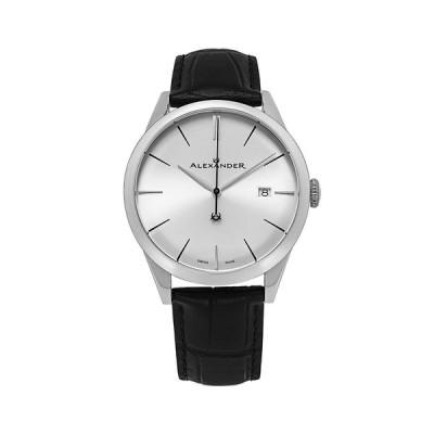 スターリング 腕時計 アクセサリー レディース Alexander Watch A911-02, Stainless Steel Case on Black Embossed Genuine Leather Strap Black