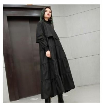 ゴスロリ系 ワンピース ロング丈 ネックギャザー 切り替え フレアスカート ゆったり 病み可愛い 20代 30代