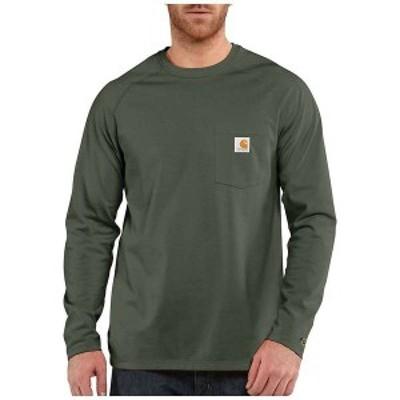 カーハート メンズ シャツ トップス Carhartt Men's Force Cotton Delmont LS T-Shirt Moss