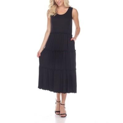 ホワイトマーク ワンピース トップス レディース Women's Scoop Neck Tiered Midi Dress Black