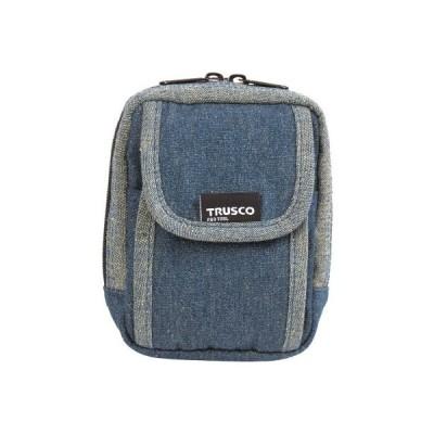 TRUSCO デニム携帯電話用ケース 2ポケット ブルー TDCH101
