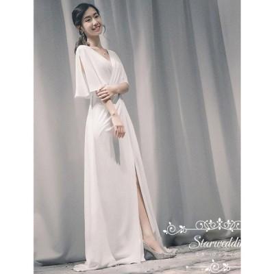 半袖 ウェティグドレス ドレス ロングドレス 大きいサイズ 結婚式 Aラインドレス パーティードレス 安い カラードレス 花嫁 海外挙式 二次会 韓国風