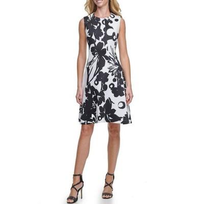 ダナ キャラン ニューヨーク レディース ワンピース トップス Floral Print Scuba Crepe Sleeveless Fit & Flare Dress