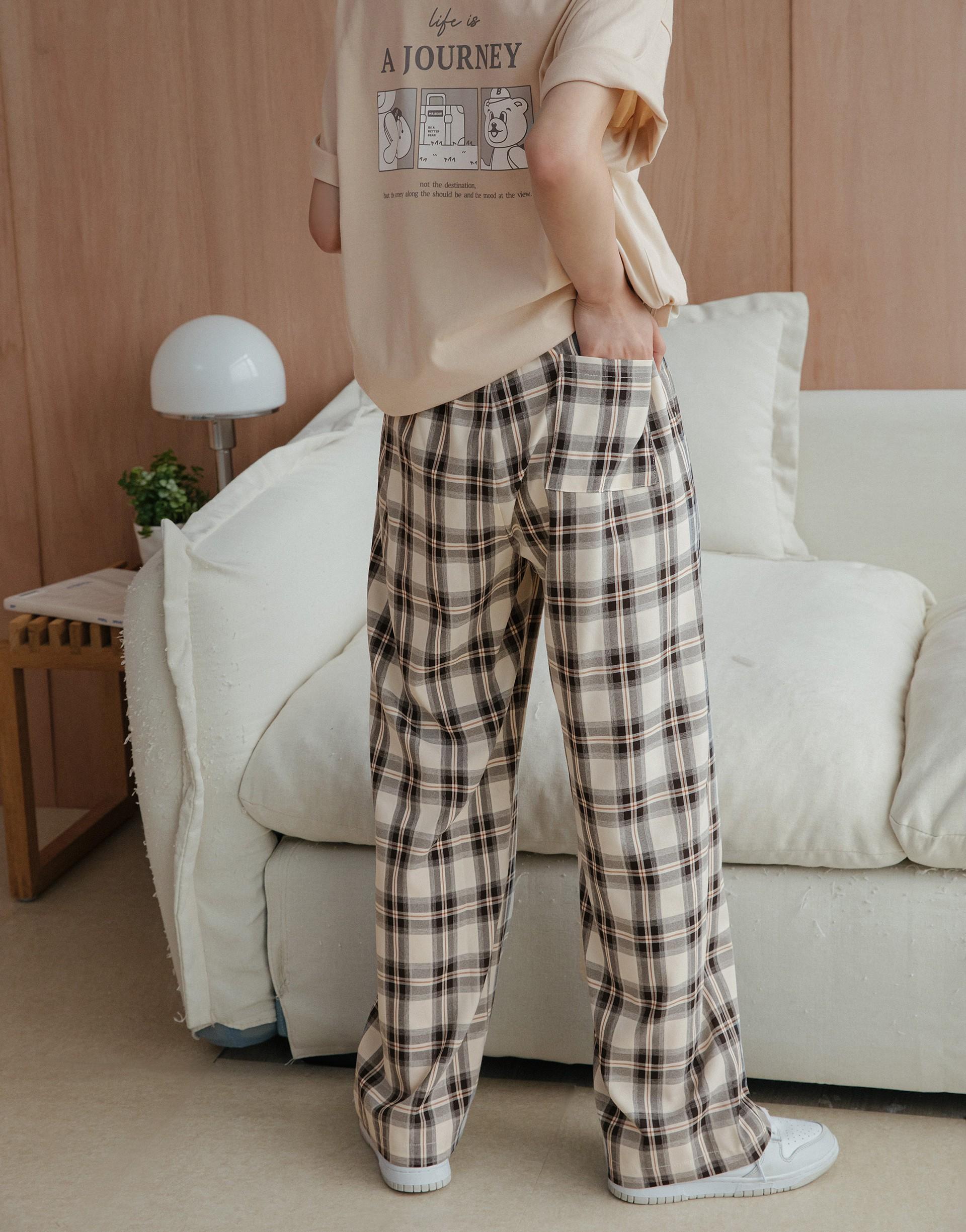 Burly Wood小個性韓系格紋長褲-PAZZO