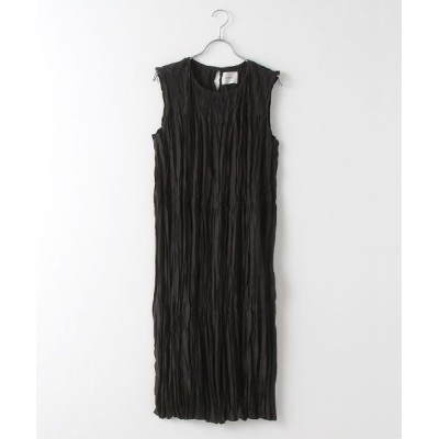 MARcourt/マーコート washer pleats N/S tiered OP black FREE