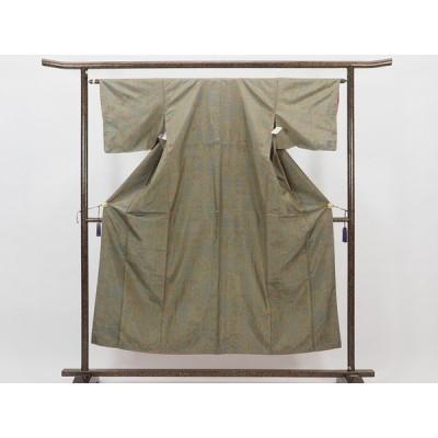 リサイクル着物 紬 正絹グリーングレー地袷大島紬着物未着用品