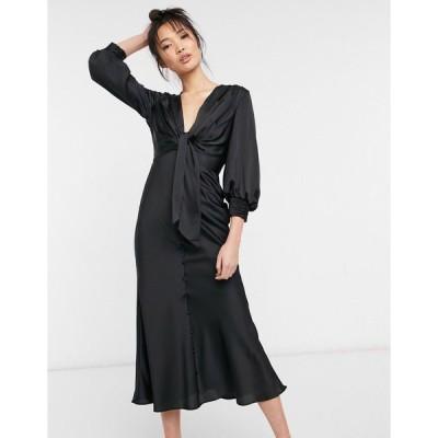 エイソス ミディドレス レディース ASOS DESIGN satin tie front midi dress with button detail エイソス ASOS ブラック 黒