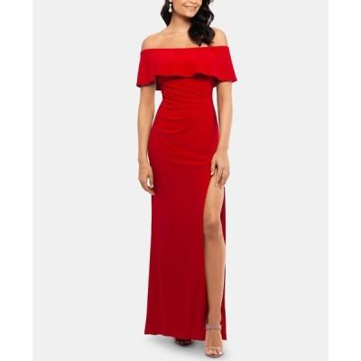 エックススケープ XSCAPE レディース パーティードレス ワンピース・ドレス Petite Ruffled Off-The-Shoulder Gown Red