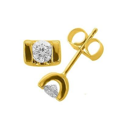 14K イエロー ゴールド ダイヤモンド スタッド Earrings(1/5 Carat)(海外取寄せ品)