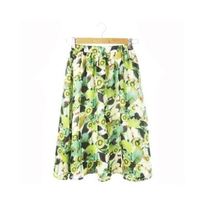【中古】ムルーア MURUA スカート ギャザー フレア ミモレ ロング フルーツ 2 緑 グリーン /CK16 ☆ レディース 【ベクトル 古着】
