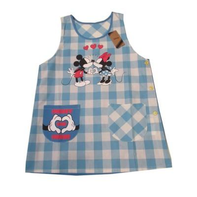エプロン キッチンファブリック エプロン ディズニー 可愛い Disney ミッキー&ミニー エプロン サービス品  ブルー 52005062
