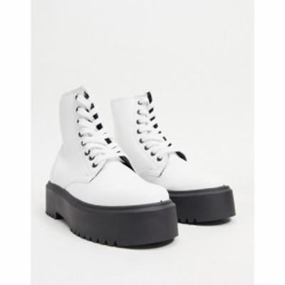 エイソス ASOS DESIGN レディース ブーツ レースアップブーツ シューズ・靴 Attitude 2 Lace Up Chunky Boots In White ホワイト