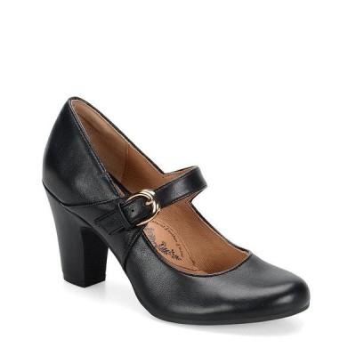 ソフト レディース パンプス シューズ Miranda Leather Mary Jane Buckle Strap Pumps Black