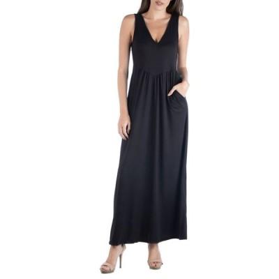 24セブンコンフォート レディース ワンピース トップス Sleeveless V-Neck Maxi Dress with Pocket Detail