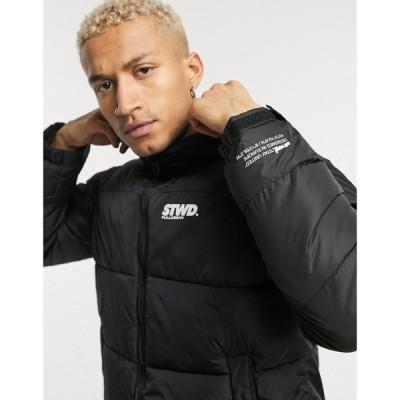 プル&ベアー Pull&Bear メンズ ダウン・中綿ジャケット アウター Padded Puffer Jacket In Black ブラック