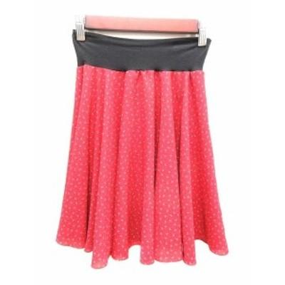 【中古】未使用品 アニエスベー agnes b. スカート フレア ミニ 総柄 1 赤 レッド 黒 ブラック /YK レディース
