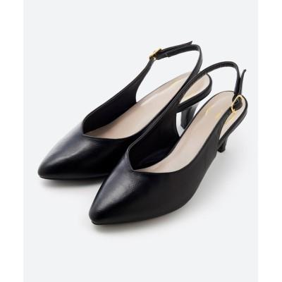 【ハコ】 Vカッティングがきれいで素足も美しく魅せるバックストラップパンプスbyMAKORI レディース ブラック 6 haco!
