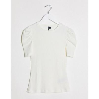 ヴェロモーダ レディース シャツ トップス Vero Moda ribbed t-shirt with puff sleeves in white