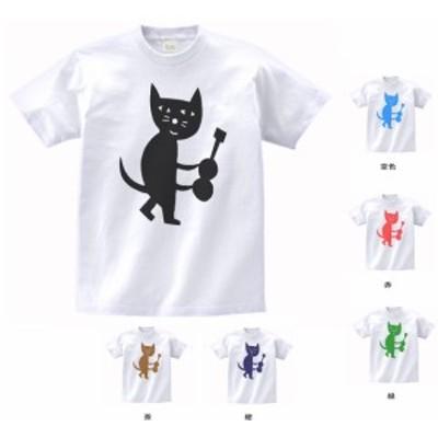 デザインTシャツ おもしろ ギターを持つネコ 白