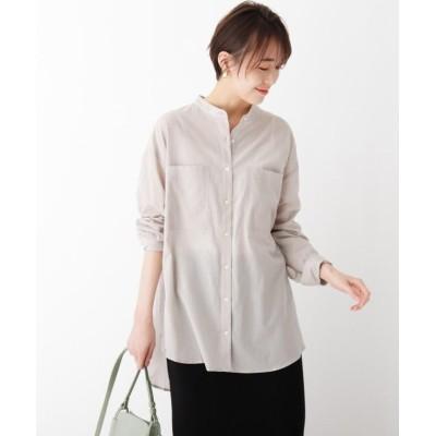 【オペークドットクリップ】 スーパーハイカウントコットン シアービッグシャツ レディース オリーブグリーン 38(M) OPAQUE.CLIP