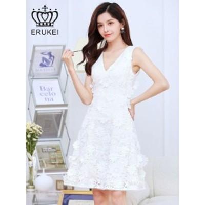 ERUKEI ドレス エルケイ キャバドレス ナイトドレス ワンピース 白 7号 S E32067 クラブ スナック キャバクラ パーティードレス