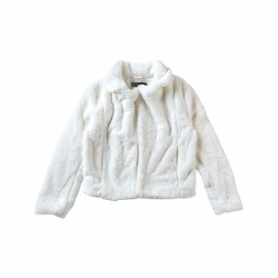 Allegra K ファーコート ジャケット ショートコート フェイクファー ゆったり 冬 レディース ホワイト XS