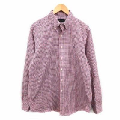 【中古】ラルフローレン RALPH LAUREN ボタンダウンシャツ 長袖 チェック コットン L 赤 青 白 /YM メンズ