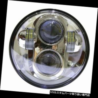 バイク ヘッドライト クロム5.75 5 3/4ラウンドプロジェクターLED電球ヘッドライトフィットハーレーダイナ  Chrome 5.75 5 3/4 Round Pr