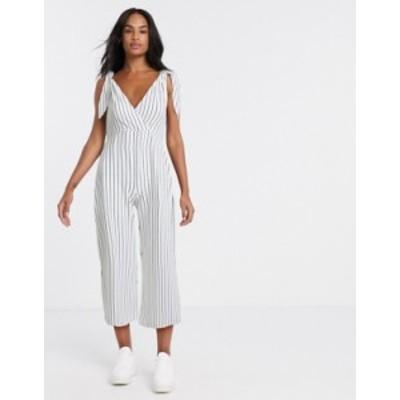 エイソス レディース ワンピース トップス ASOS DESIGN tie strap chuck on jumpsuit in white stripe print White/black stripe