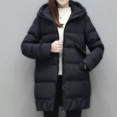 冬コートレディース ミディアム丈 フード付き ダウンジャケット 送料無料 ダウン コート ミディコート ジップ ポケット アウター キルテ