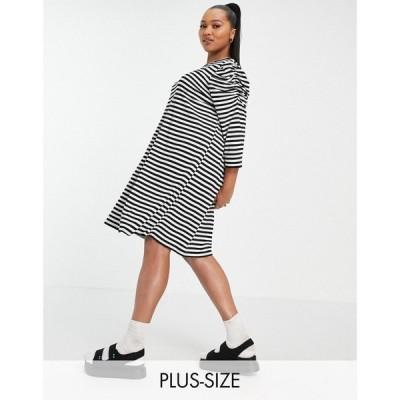 オンリーカーブ Only Curve レディース ワンピース ミニ丈 ワンピース・ドレス mini swing dress with puff sleeve in black stripe モノストライプ