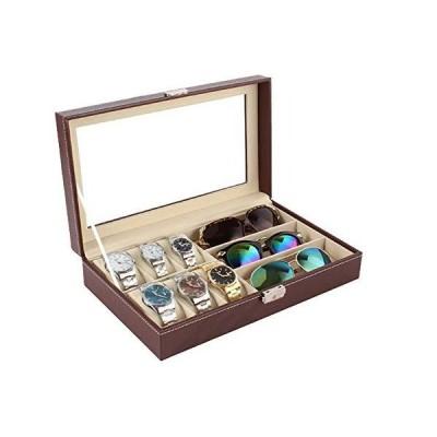 [RADISSY] メガネ サングラス 腕時計 収納 ケース 大容量 ボックス おしゃれ 大きめ (時計6本+メガネ3本用, ブラウン)