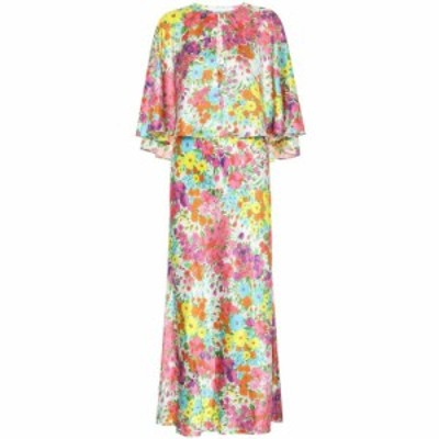 レ レヴェリズ Les Reveries レディース ワンピース ミドル丈 ワンピース・ドレス Floral silk midi dress Kaleidoscope Garden White