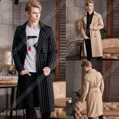 トレンチコート ロング丈 メンズ スプリングコート ロングコート ダブルトレンチ ストライプ ビジネスジャケット 高級感 通勤 大きいサイズあり ダスターコート