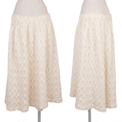 イッセイミヤケISSEY MIYAKE I.S. ウールデザイン編みニットスカート オフ9 【レディース】
